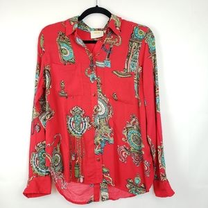 Maeve Anthropologie Whimsy womens blouse Button